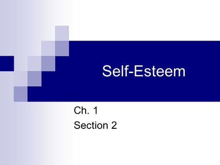 Self-Esteem Ch. 1 Section 2.