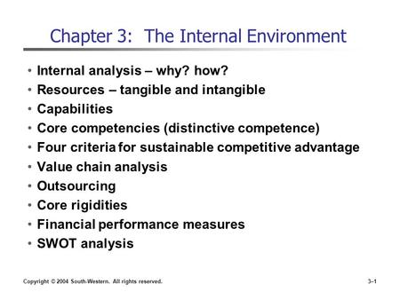 Chapter 3: The Internal Environment