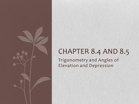 Trigonometry and Angles of Elevation and Depression CHAPTER 8.4 AND 8.5.