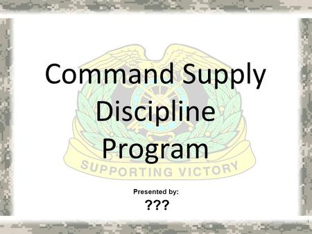 Command Supply Discipline Program