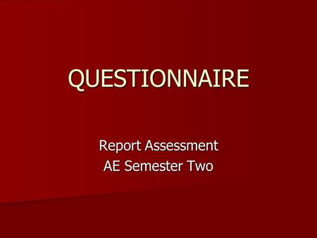 Report Assessment AE Semester Two