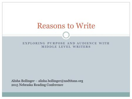 EXPLORING PURPOSE AND AUDIENCE WITH MIDDLE LEVEL WRITERS Reasons to Write Alisha Bollinger – 2015 Nebraska Reading Conference.