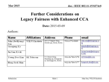 Submission doc.: IEEE 802.11-15/0374r0 Mar 2015 John Son, WILUS InstituteSlide 1 Further Considerations on Legacy Fairness with Enhanced CCA Date: 2015-03-09.