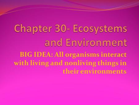 BIG IDEA: All organisms interact with living and nonliving things in their environments.