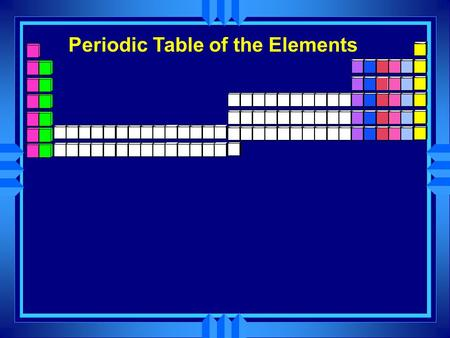Periodic Table of the Elements. u These are called the inner transition elements and they belong here.