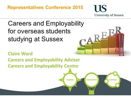 Representatives Conference 2015 Careers and Employability for overseas students studying at Sussex Claire Ward Careers and Employability Adviser Careers.