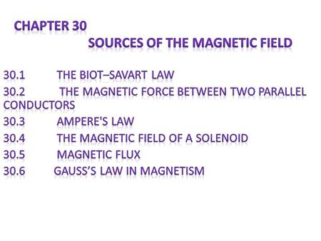 Chapter 30 Sources of the Magnetic Field