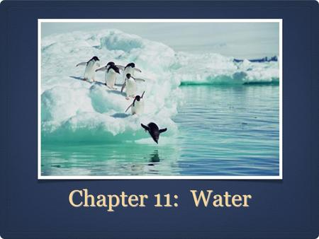 Chapter 11: Water.