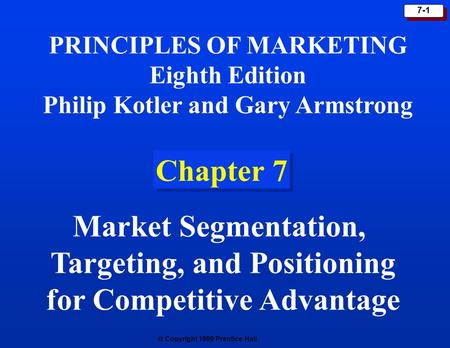 Targeting, and Positioning for Competitive Advantage