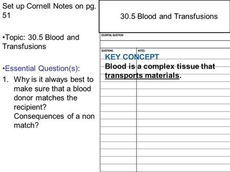 29.4 Central and Peripheral Nervous Systems Set up Cornell Notes on pg. 51 Topic: 30.5 Blood and Transfusions Essential Question(s): 1.Why is it always.