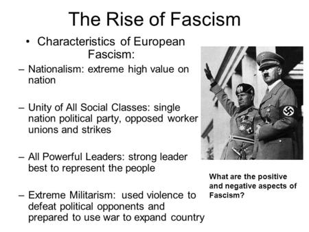 Characteristics of European Fascism: