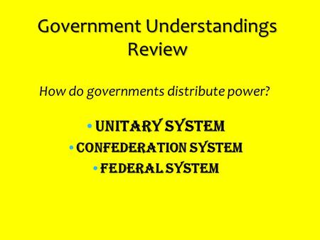 Government Understandings Review