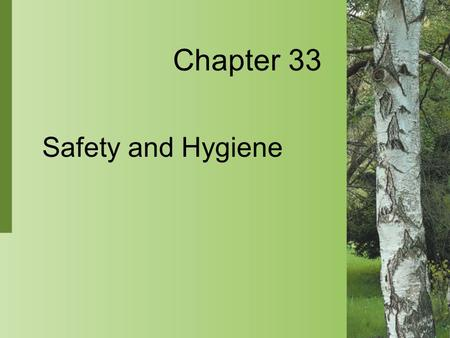 Chapter 33 Safety and Hygiene. 33-2 Copyright 2004 by Delmar Learning, a division of Thomson Learning, Inc. Safety Culture  Excellent nursing care is.