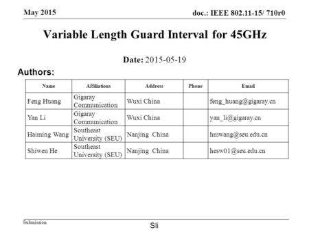 Doc.: IEEE 802.11-15/ 710r0 Submission May 2015 Variable Length Guard Interval for 45GHz Date: 2015-05-19 Authors: NameAffiliationsAddressPhoneEmail Feng.