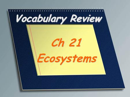 Vocabulary Review Ch 21 Ecosystems. A large region characterized by a specific type of climate and certain types of plant and animal communities Biome.