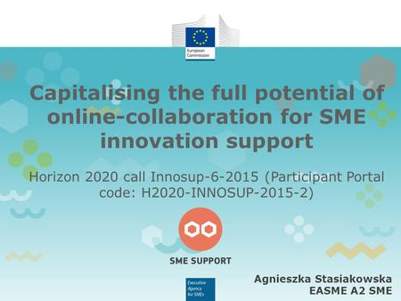 Capitalising the full potential of online-collaboration for SME innovation support Horizon 2020 call Innosup-6-2015 (Participant Portal code: H2020-INNOSUP-2015-2)