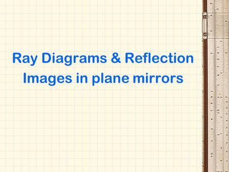 Ray Diagrams & Reflection Images in plane mirrors