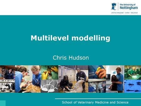 School of Veterinary Medicine and Science Multilevel modelling Chris Hudson.