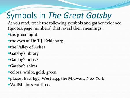 what are the symbols in the great gatsby