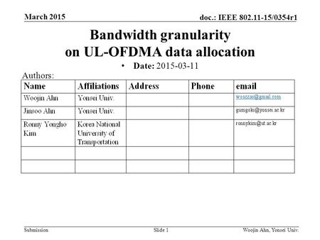 Submission doc.: IEEE 802.11-15/0354r1 March 2015 Woojin Ahn, Yonsei Univ.Slide 1 Bandwidth granularity on UL-OFDMA data allocation Date: 2015-03-11 Authors: