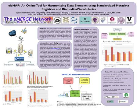 EleMAP: An Online Tool for Harmonizing Data Elements using Standardized Metadata Registries and Biomedical Vocabularies Jyotishman Pathak, PhD 1 Janey.