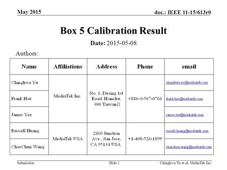 Submission doc.: IEEE 11-15/613r0 May 2015 Chinghwa Yu et al, MediaTek Inc.Slide 1 Box 5 Calibration Result Date: 2015-05-08 Authors: