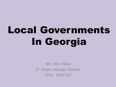 Local Governments In Georgia