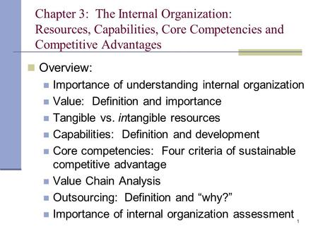 Chapter 3: The Internal Organization: Resources, Capabilities, Core Competencies and Competitive Advantages Overview: Importance of understanding internal.
