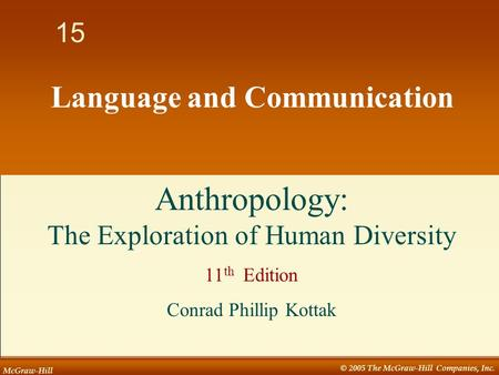McGraw-Hill © 2005 The McGraw-Hill Companies, Inc. 1 15 Language and Communication Anthropology: The Exploration of Human Diversity 11 th Edition Conrad.