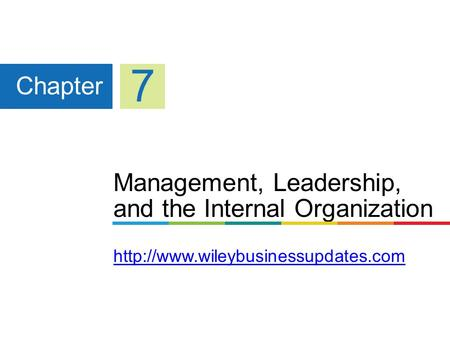7 Chapter Management, Leadership, and the Internal Organization http://www.wileybusinessupdates.com.