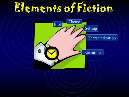Elements of Fiction Plot Theme Setting Characterization Narration.