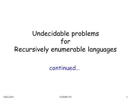 Fall 2004COMP 3351 Undecidable problems for Recursively enumerable languages continued…