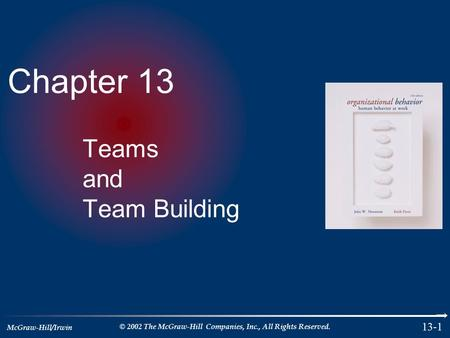 McGraw-Hill/Irwin © 2002 The McGraw-Hill Companies, Inc., All Rights Reserved. 13-1 Chapter 13 Teams and Team Building.