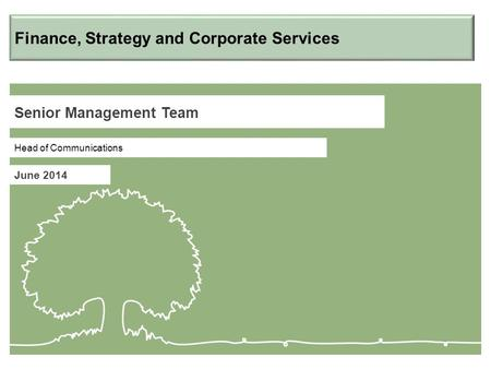 Senior Management Team June 2014 Head of Communications Finance, Strategy and Corporate Services.