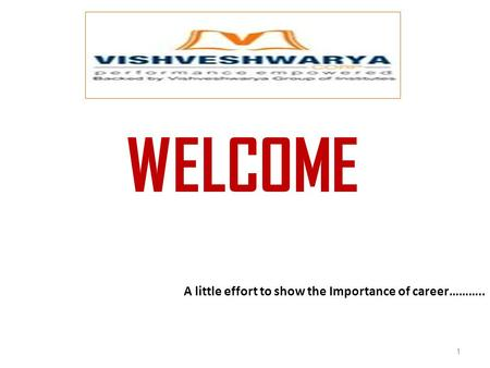 WELCOME A little effort to show the Importance of career……….. 1.