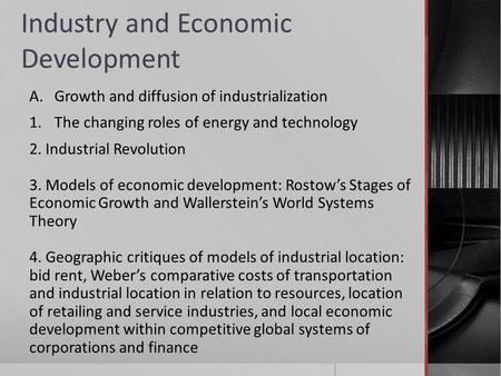 <strong>Industry</strong> and Economic Development