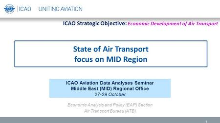State of Air Transport focus on MID Region 1 ICAO Aviation Data Analyses Seminar Middle East (MID) Regional Office 27-29 October Economic Analysis and.