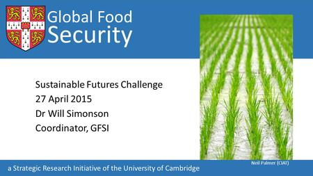 Global Food Security Sustainable Futures Challenge 27 April 2015 Dr Will Simonson Coordinator, GFSI Global Food Security a Strategic Research Initiative.