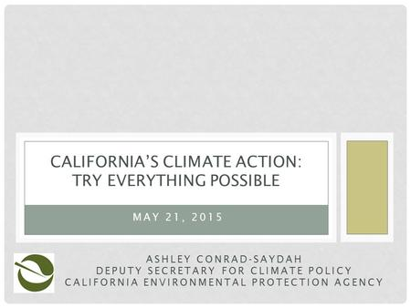 CALIFORNIA'S CLIMATE ACTION: TRY EVERYTHING POSSIBLE ASHLEY CONRAD-SAYDAH DEPUTY SECRETARY FOR CLIMATE POLICY CALIFORNIA ENVIRONMENTAL PROTECTION AGENCY.