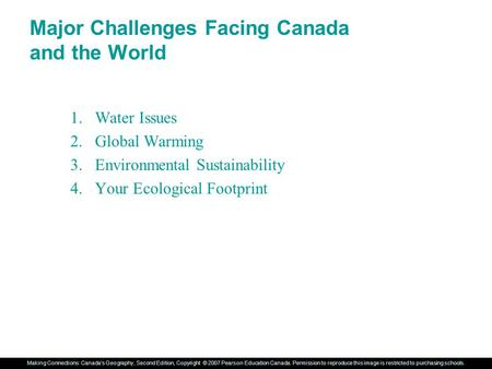 Major Challenges Facing Canada and the World