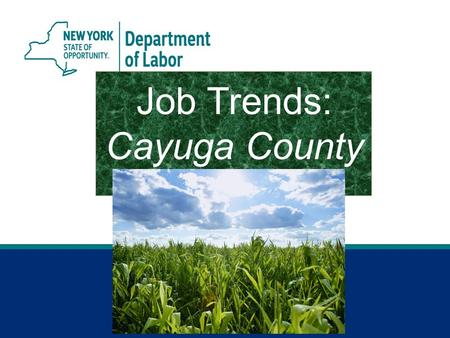 Job Trends: Cayuga County. 2 Jobs Gained or Lost April 2015 vs. April 2014 Cayuga County.
