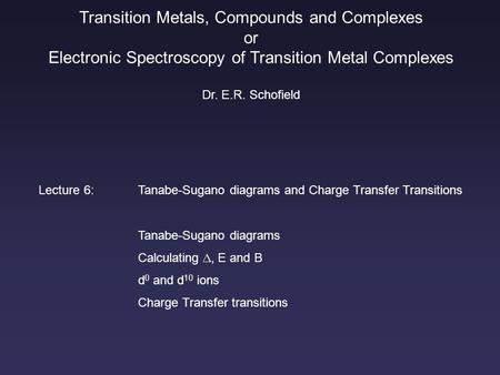 Transition Metals Compounds And Comple Or