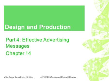 Wells, Moriarty, Burnett & Lwin - Xth EditionADVERTISING Principles and Effective IMC Practice1 Design and Production Part 4: Effective Advertising Messages.