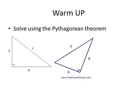 Warm UP Solve using the Pythagorean theorem. ESSENTIAL QUESTION: How can you write an equation for a circle in the coordinate plane with known center.