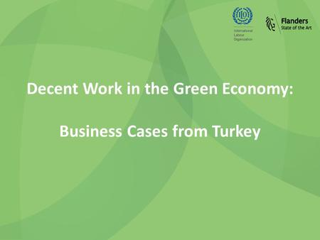 Decent Work in the Green Economy: Business Cases from Turkey.