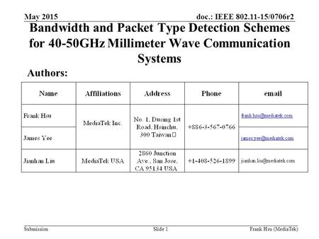 Doc.: IEEE 802.11-15/0706r2 Submission Bandwidth and Packet Type Detection Schemes for 40-50GHz Millimeter Wave Communication Systems Authors: May 2015.