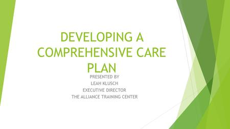 DEVELOPING A COMPREHENSIVE CARE PLAN PRESENTED BY LEAH KLUSCH EXECUTIVE DIRECTOR THE ALLIANCE TRAINING CENTER.