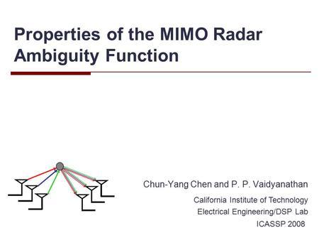 Radar Waveforms Generation & Analysis Islamic University of