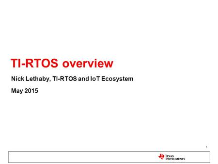 MSP432™ MCU RTOS Solutions - ppt video online download