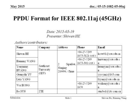 May 2015 Submission doc.: 05-15-1082-05-00aj Shiwen He, Haiming Wang PPDU Format for IEEE 802.11aj (45GHz) Authors/contributors: Date: 2015-05-19 Presenter: